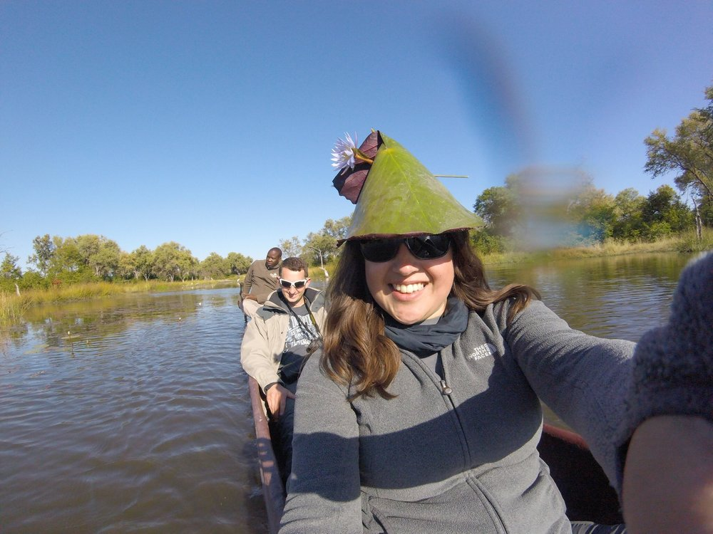 View from the canoe with a lilypad hat