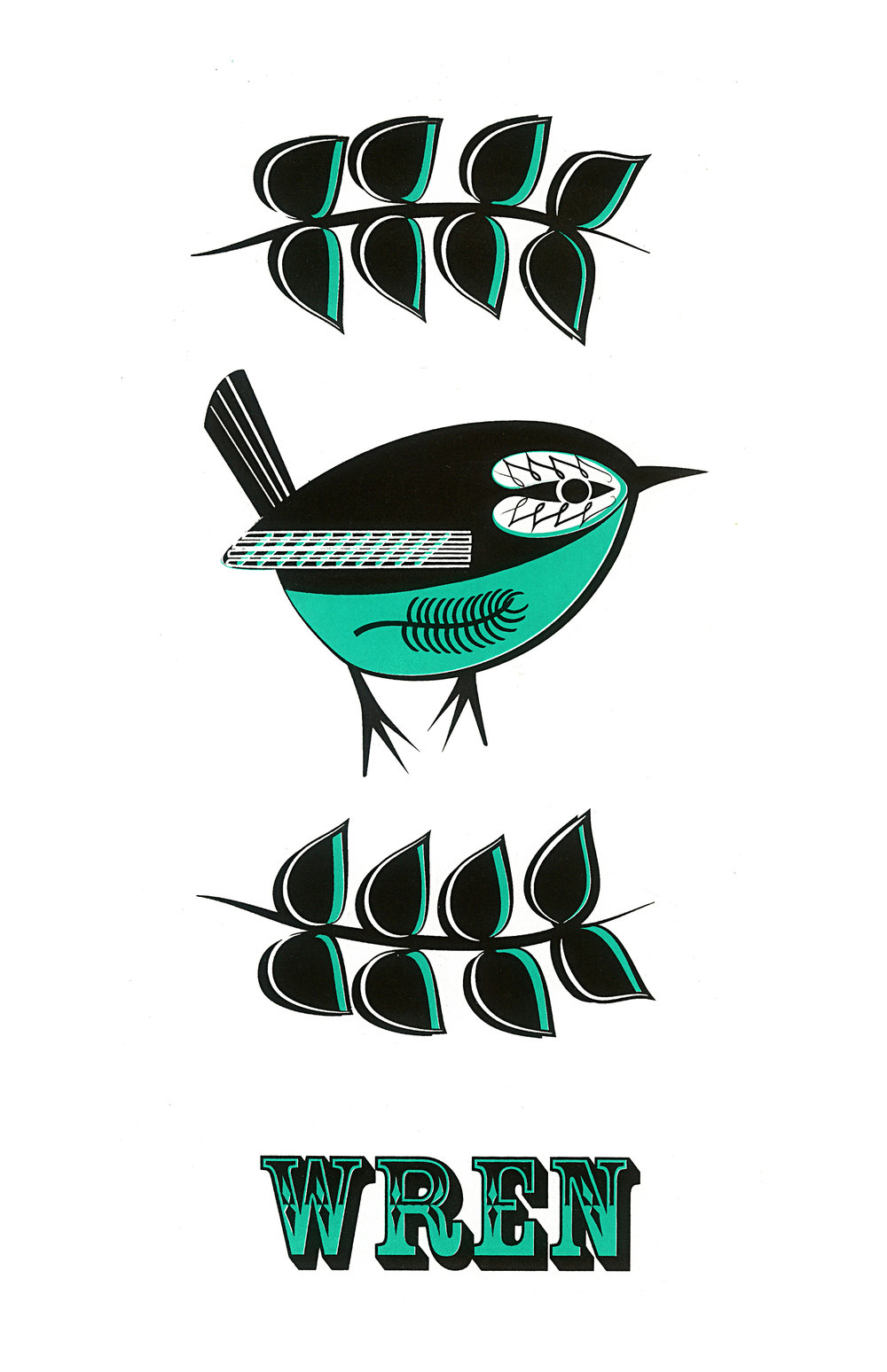 Limited Edition Green Wren Screenprint