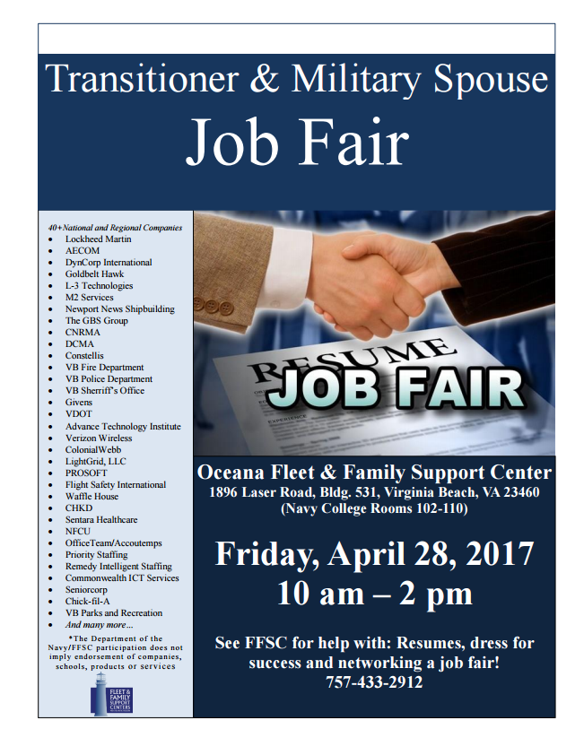 reminder job fair on april 28th in virginia beach