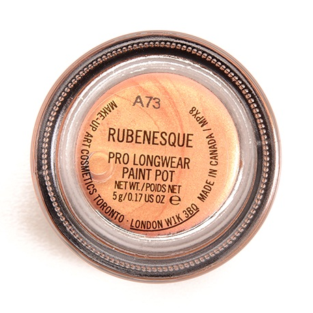 """mac pro longwear paint pot in """"rubenesque"""" - ah, another relic of 2013: the era of gold eyeshadow and brown/black eyeliner in the waterline. its coral warmth and golden sheen transport us to a tropical, scuba diving galore. with rubenesque, began an unconditional love for cream eyeshadows and glistening, golden highlights. update: although forgotten during the age of baking and matte liquid lipsticks, we have rekindled the flame and are going at full force with more cream cosmetics than ever.note: pairs well with mac's pigment in """"melon,"""" which is fortunately still available and will never leave you."""