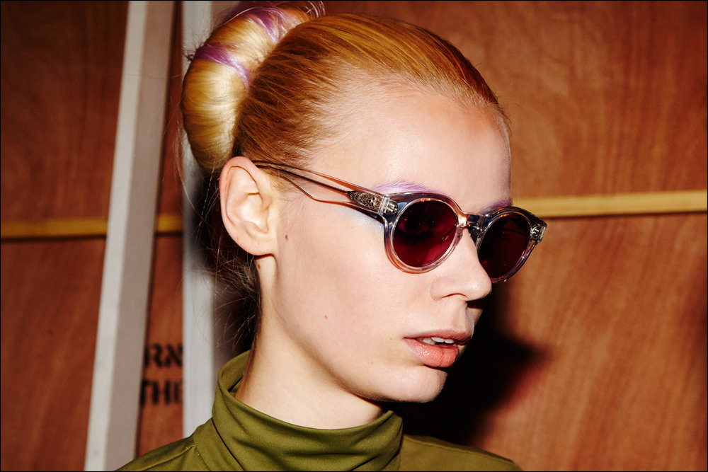 Backstage in sunglasses at Georgine