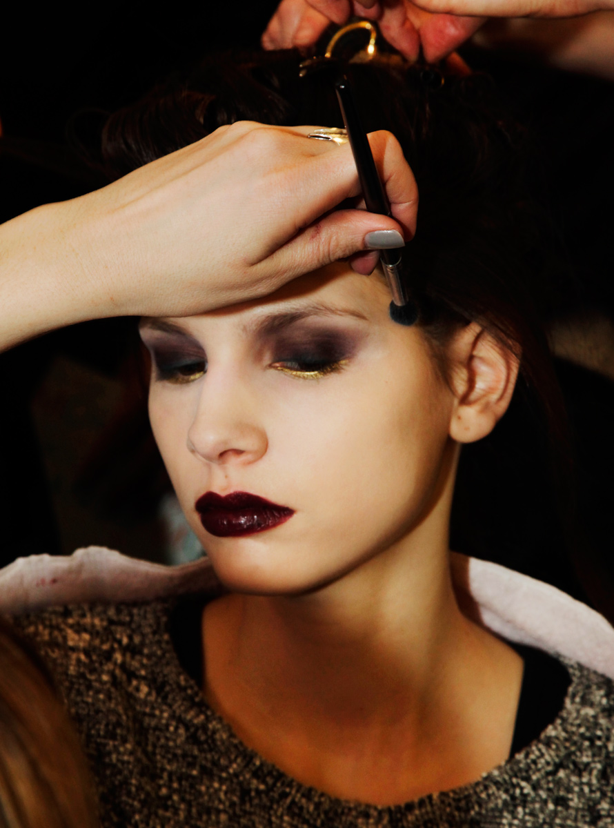 Model in makeup at Badgley Mischka