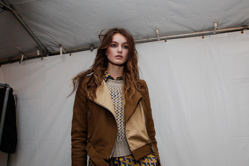 Model backstage at Rag & Bone
