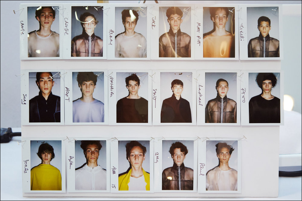 Men's polaroids backstage at Duckie Brown