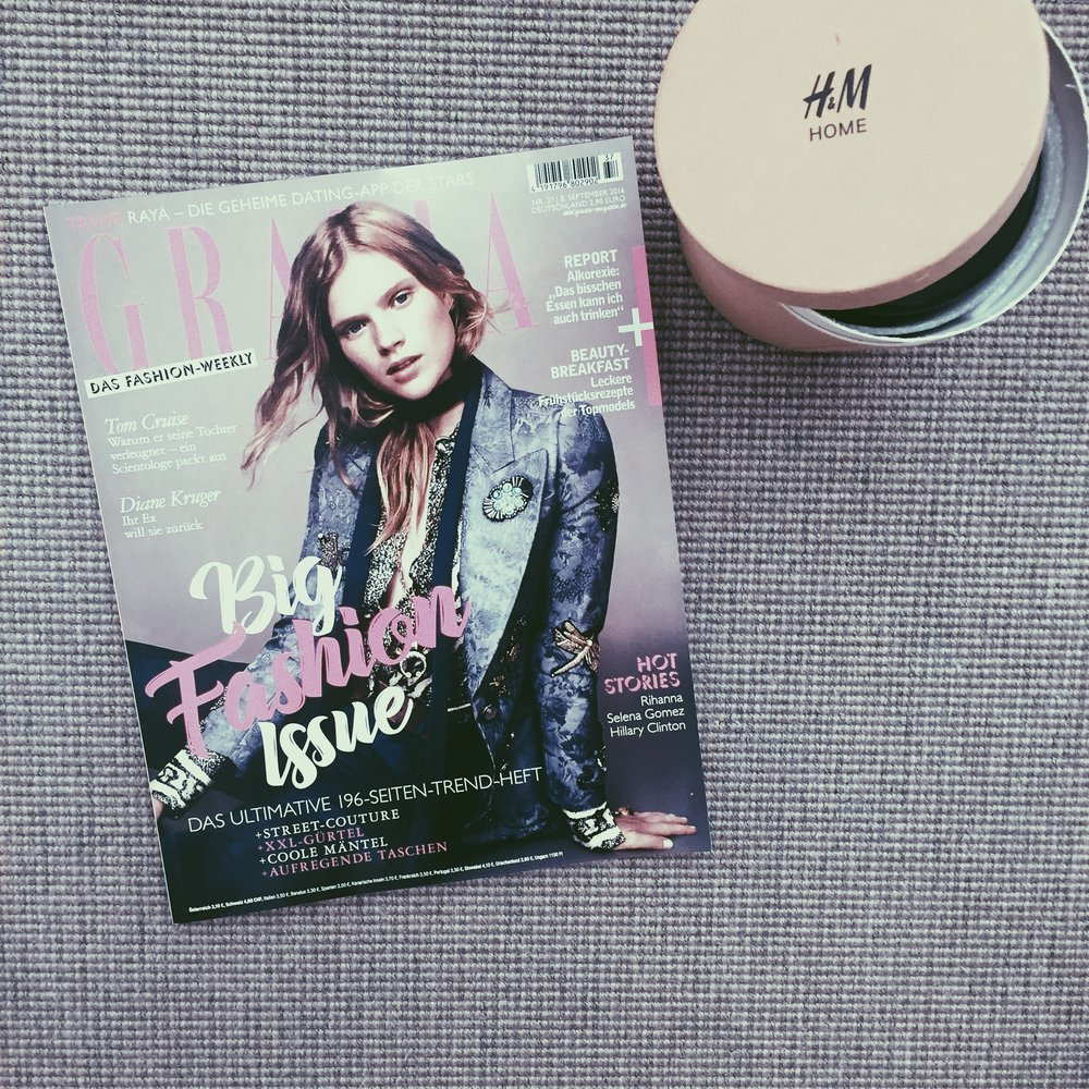 Der Inhalt des Goodie-Bags: die neuste Grazia Ausgabe und eine wundervoll riechende Kerze von H&M Home