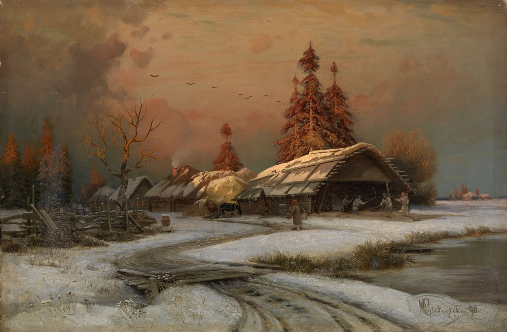 Petr Sukhodolsky - Village Scene in Winter.jpg
