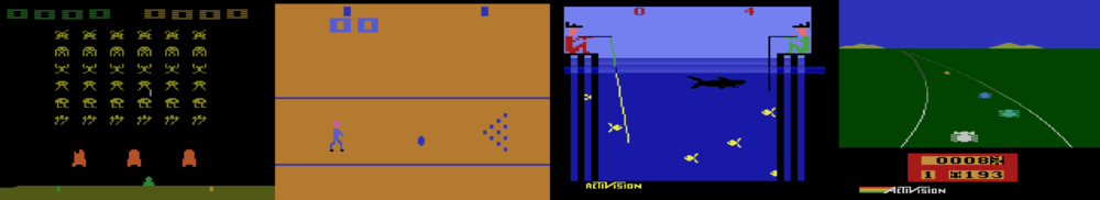 1.  Atari 2600  games:  Space Invaders ,  Bowling ,  Fishing Derby  and  E  nduro