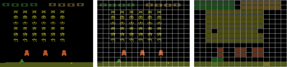2. Left: Screenshot of the game Space Invaders | Centre: Tiling used in all games | Right: Representation of Basic Features