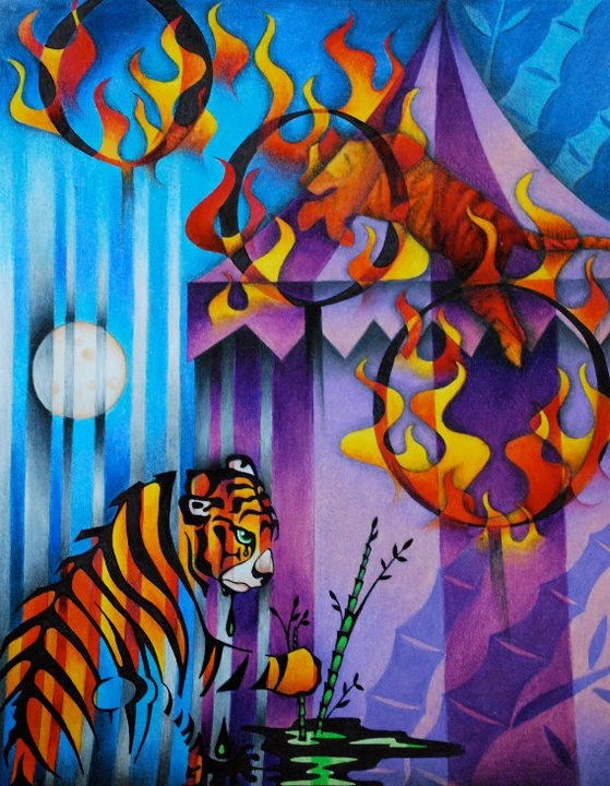 Circus Tiger   | Colored Pencil