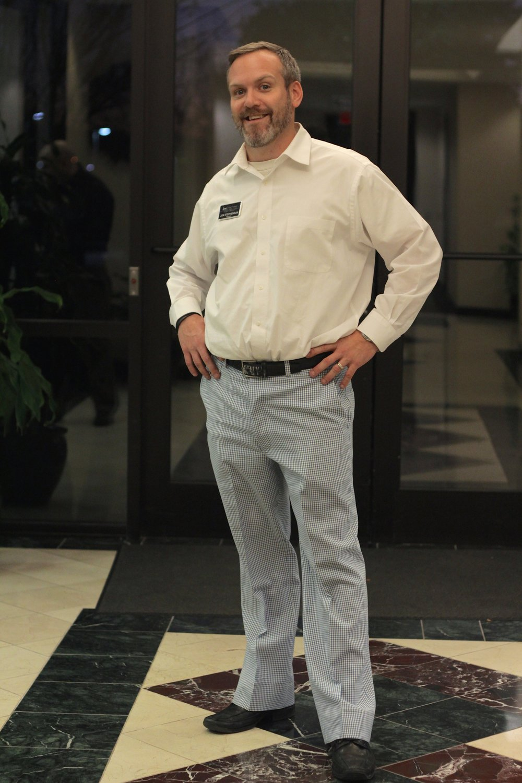 "Jon Stephenson shows off his ""closing pants."""