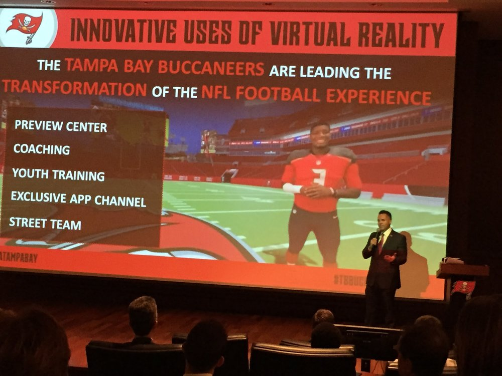 Bucs chief marketing officer Brian Killingsworth describes how the team has embraced virtual reality.