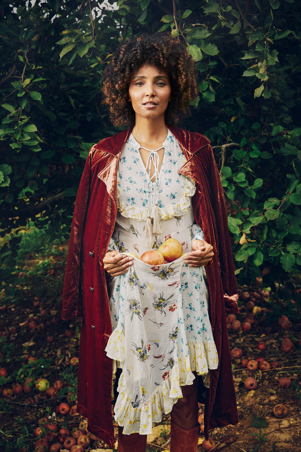 Cris wears Free People dress and coat. Boots by Marc Jacobs.