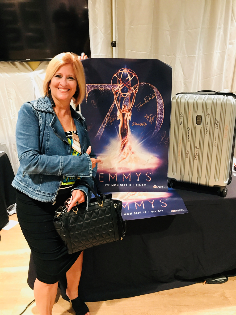 Assessing backstage at the 2018 Emmy Awards, Microsoft Theatre with backstage pass to preview exhibit area. (Not a sponsor).