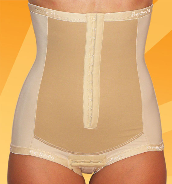 A C-Section post-recovery garment showing compression throughout abdomen area.