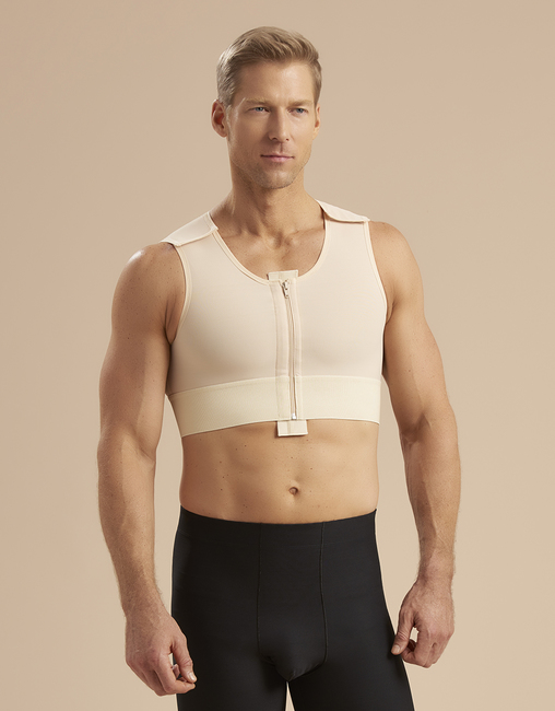 BEFORE - Men's post-surgical garment that provides compression - not comfortable or attractive under apparel.