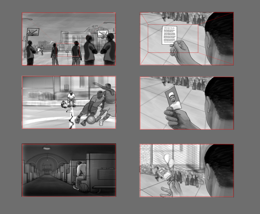 "Storyboards for ""Invictus"" short film with Mozell Films"