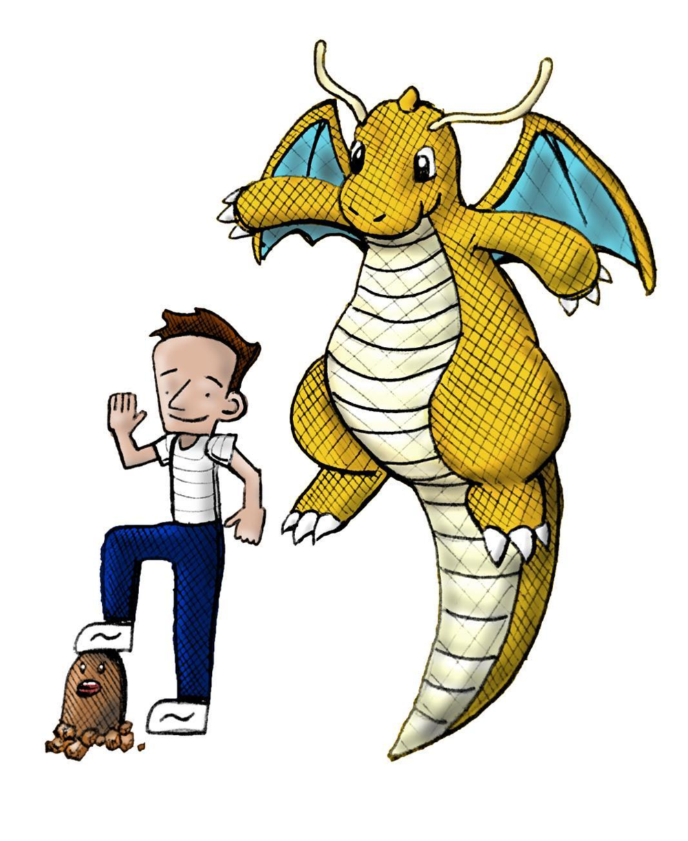 My height relative to a Diglett and a Dragonite
