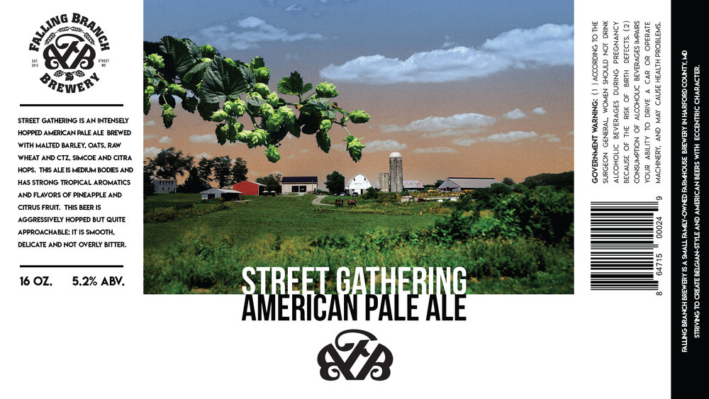 """Street Gathering"" Label - Falling Branch Brewery"