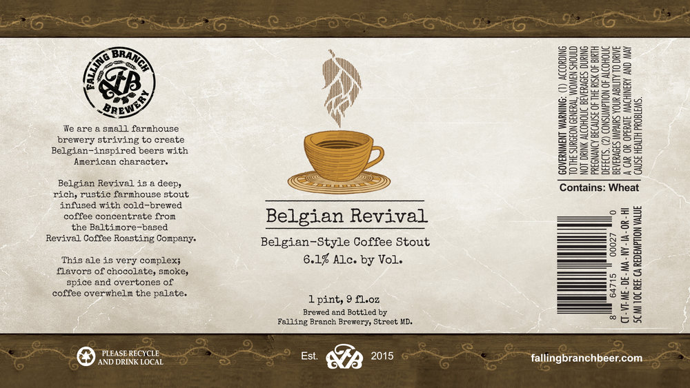 """Belgian Revival"" Label - Falling Branch Brewery"