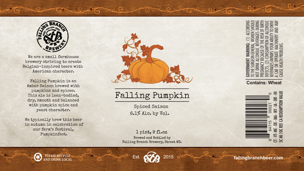 """Falling Pumpkin"" Label - Falling Branch Brewery"