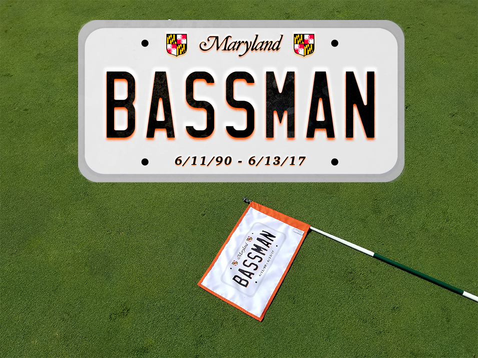 """Bassman"" - Commemorative Sticker and Golf Flag"