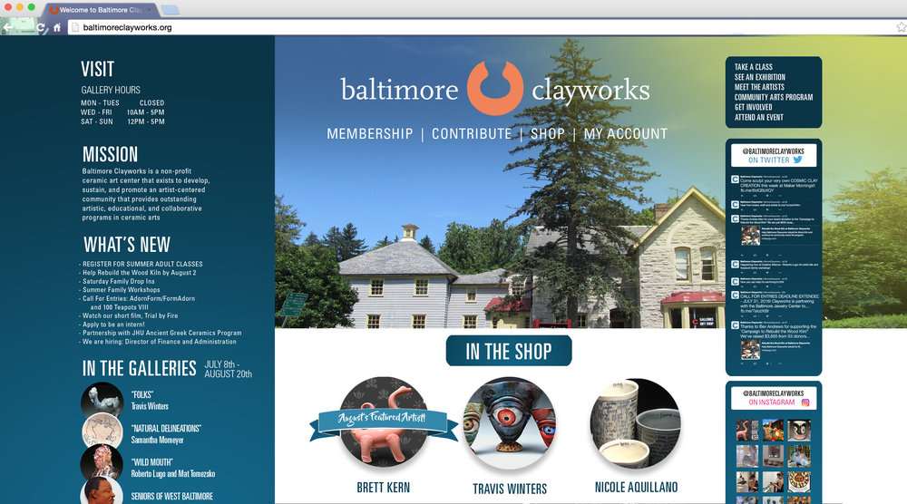 Baltimore Clayworks - Site Design