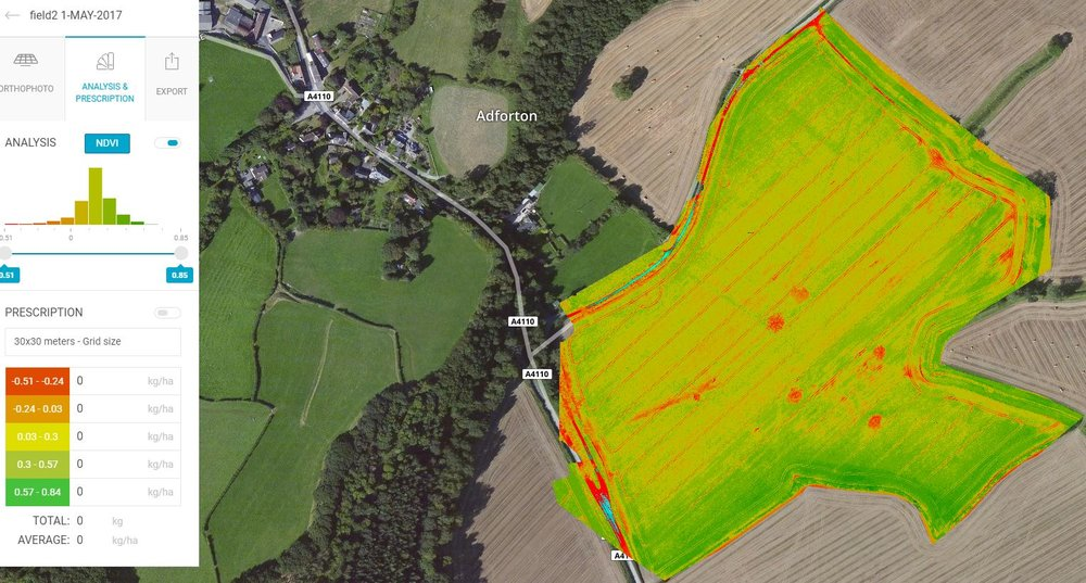 NDVI Survey from a wheat field in Wigmore, Herefordshire. Highlighting some areas of grass weed that requires treatment.
