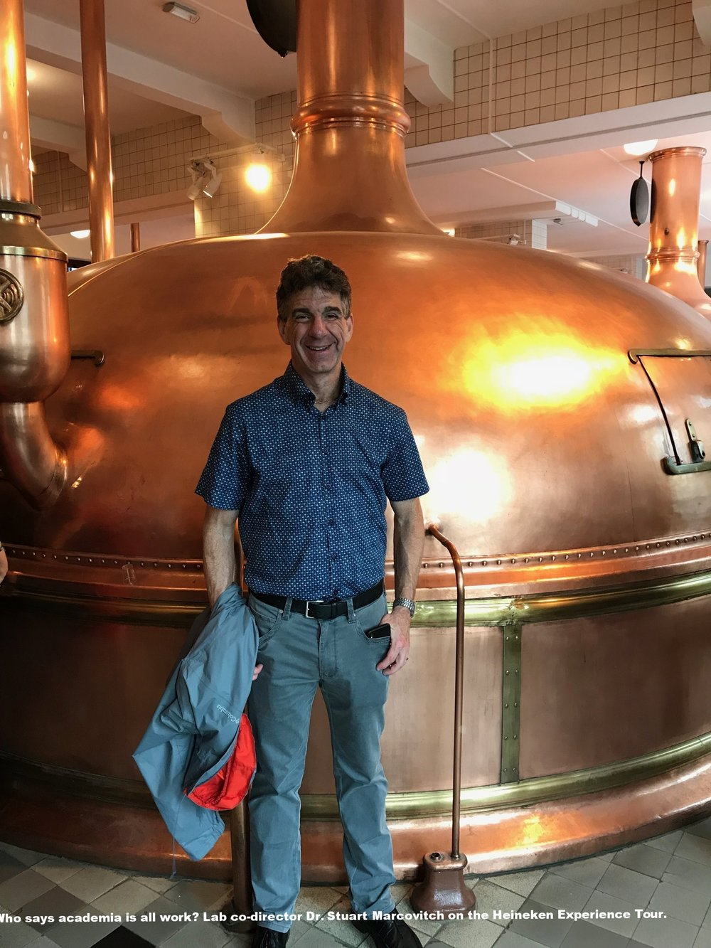 Who says academia is all work? Here lab co-director Dr. Stuart Marcovitch is enjoying the Heineken Experience Tour.