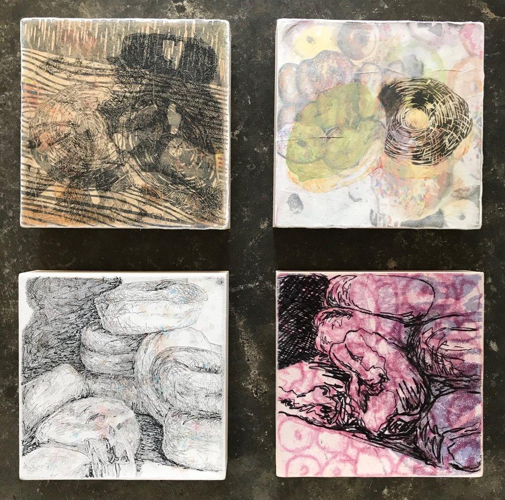 "each panel 6""x6""  monoprint, relief, intaglio, image transfer"