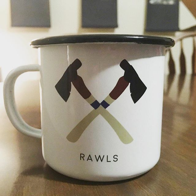 SO excited about this new merch item for @listentorawls. More enamel mug design requests, please. :) The hatchet is an illustration of a beautiful @shenandoahsupplyco piece.  I can't wait to take this thing out camping!