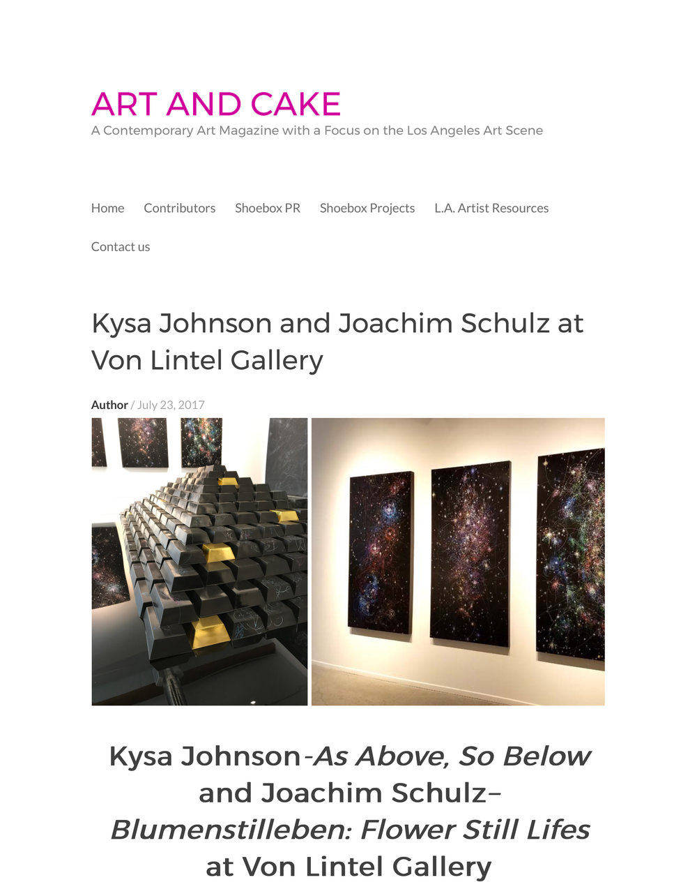 Art and Cake LA - Review As Above, So Below