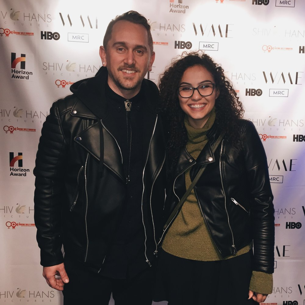 René G. Boscio and director Verónica Ortiz-Calderón at the 2018 Sundance Film Festival for the screening of their film Candlelight. -