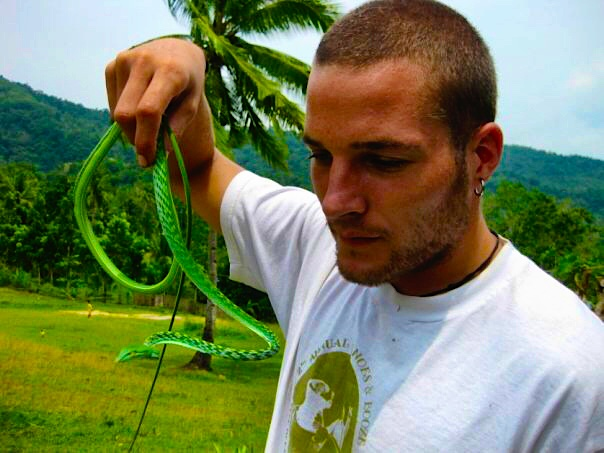 Admiring an Asian vine snake on Bohol Island in the Philippines (2009)