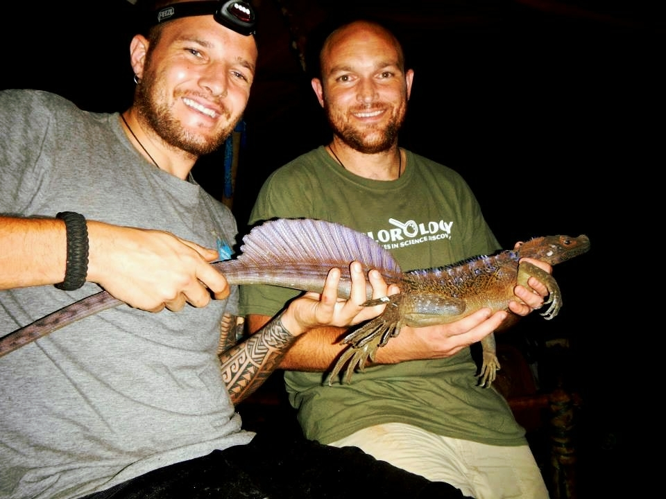 Joey and Dr. Cameron Siler with a beautiful Philippine sailfin lizard (2014)