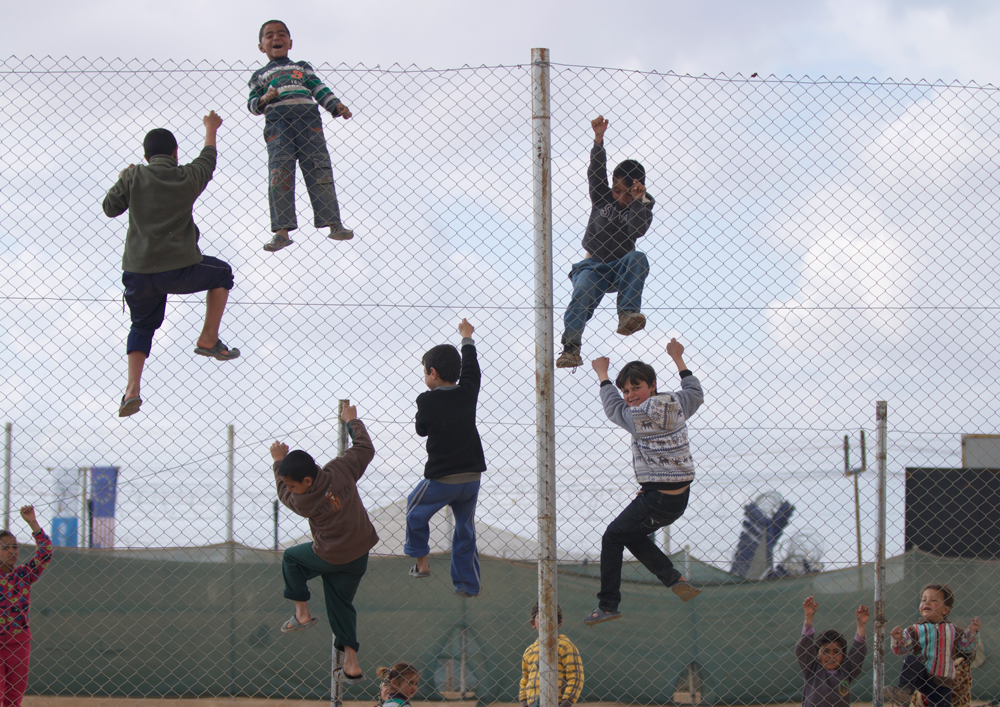 Syrian refugee camp fence