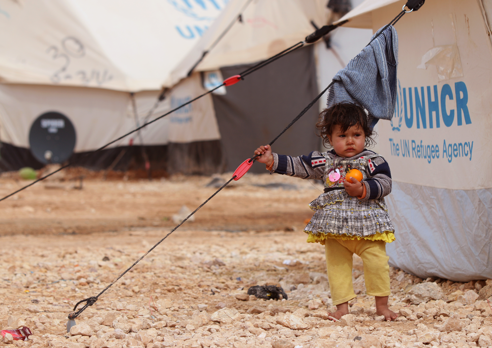 Syrian baby refugee portrait