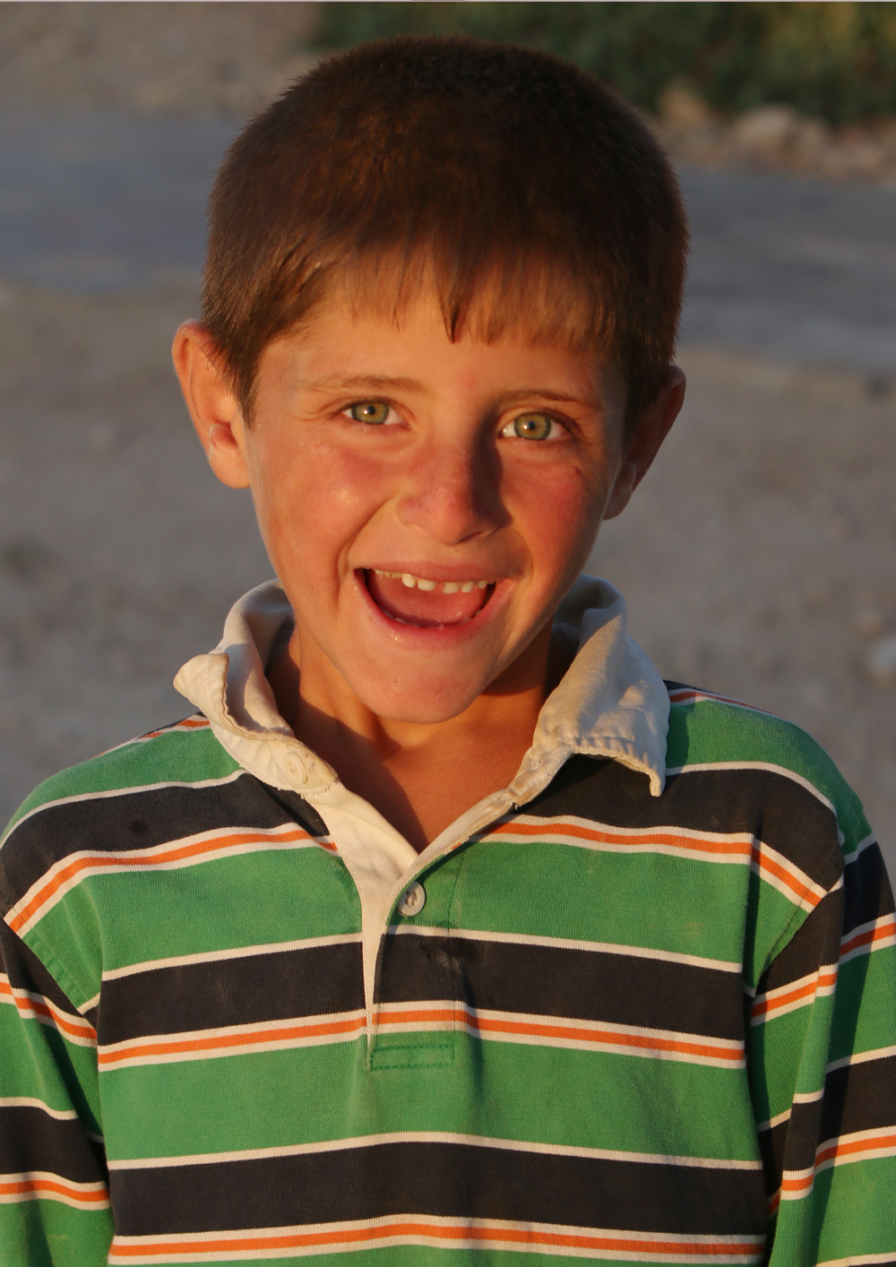 Syrian boy refugee portrait