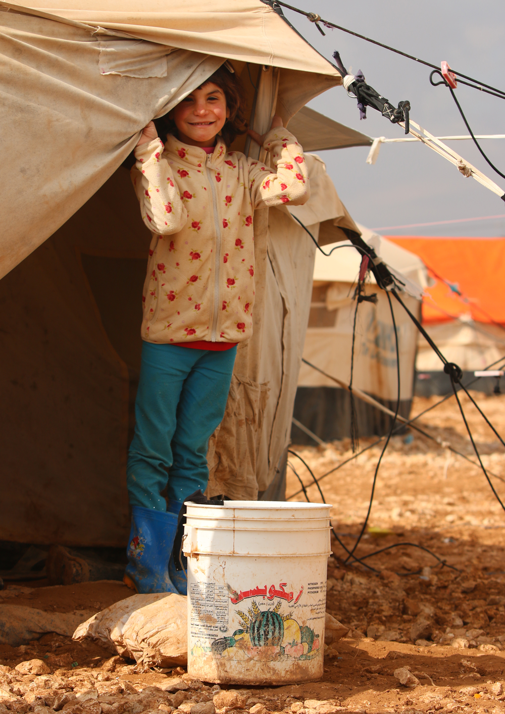Syrian refugee girl tent