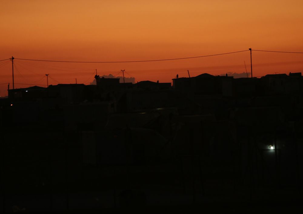 refugee camp dusk