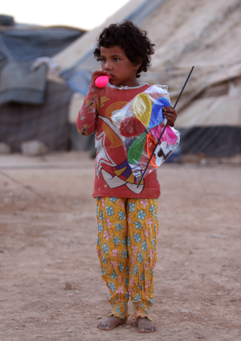 Syrian refugee child colorful