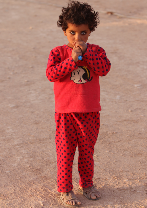 Syrian refugee red child