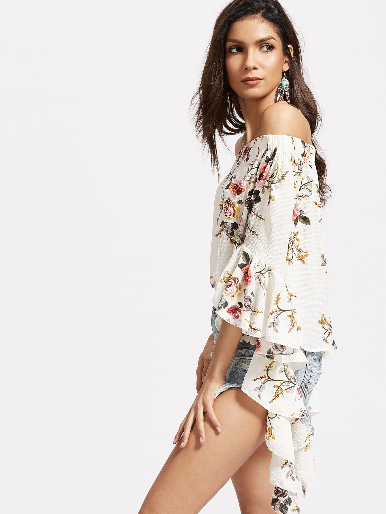 White Florals Off The Shoulder Bell Sleeve Top — Olivia's Closet Box