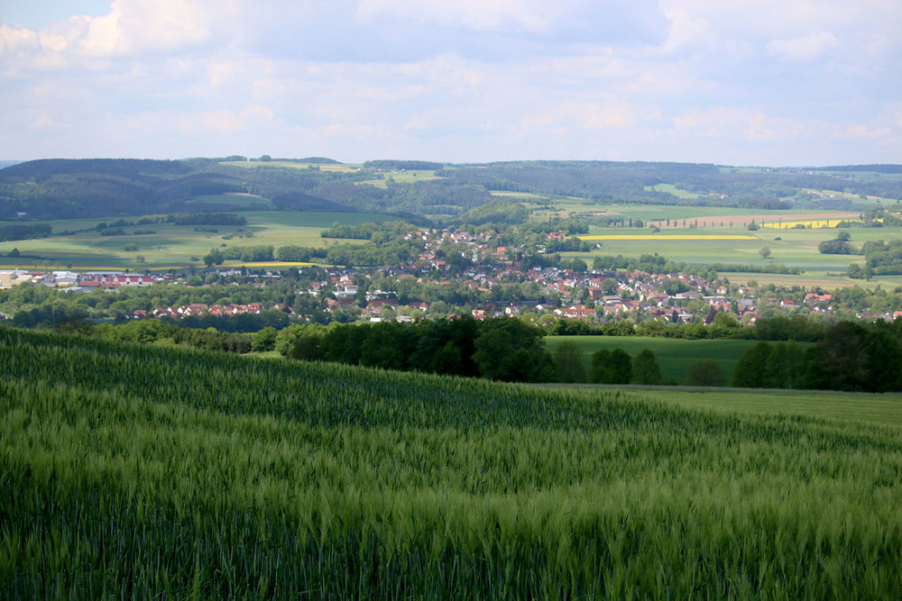 The town of Neuenmarkt, Germany. This picture was taken from a farmer's field up the hill past the neighbouring town of Wirsberg.