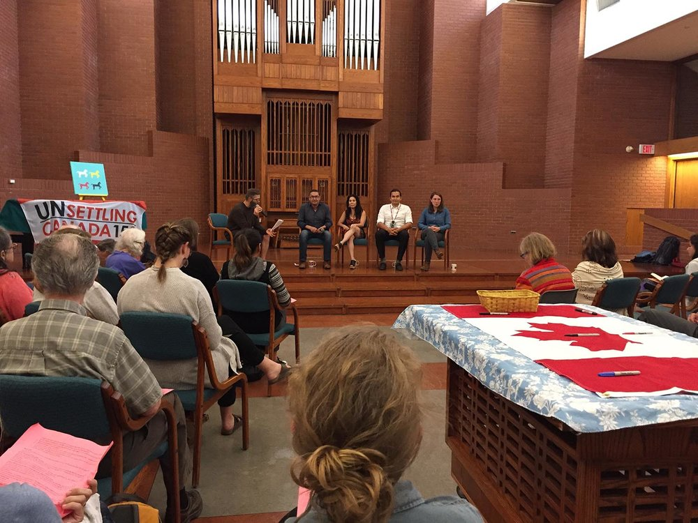 "The ""Walk the Talk"" teaching held this past June at Hope Mennonite Church. The host was Steve Heinrichs (left). The guests (from left to right): Romeo Saganash, Leah Gazan, Wab Kinew, and Kathleen Vitt."