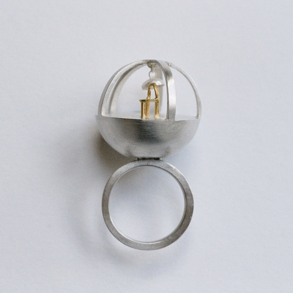 Gold Chair Ring. 18ct gold, sterling silver. 2007