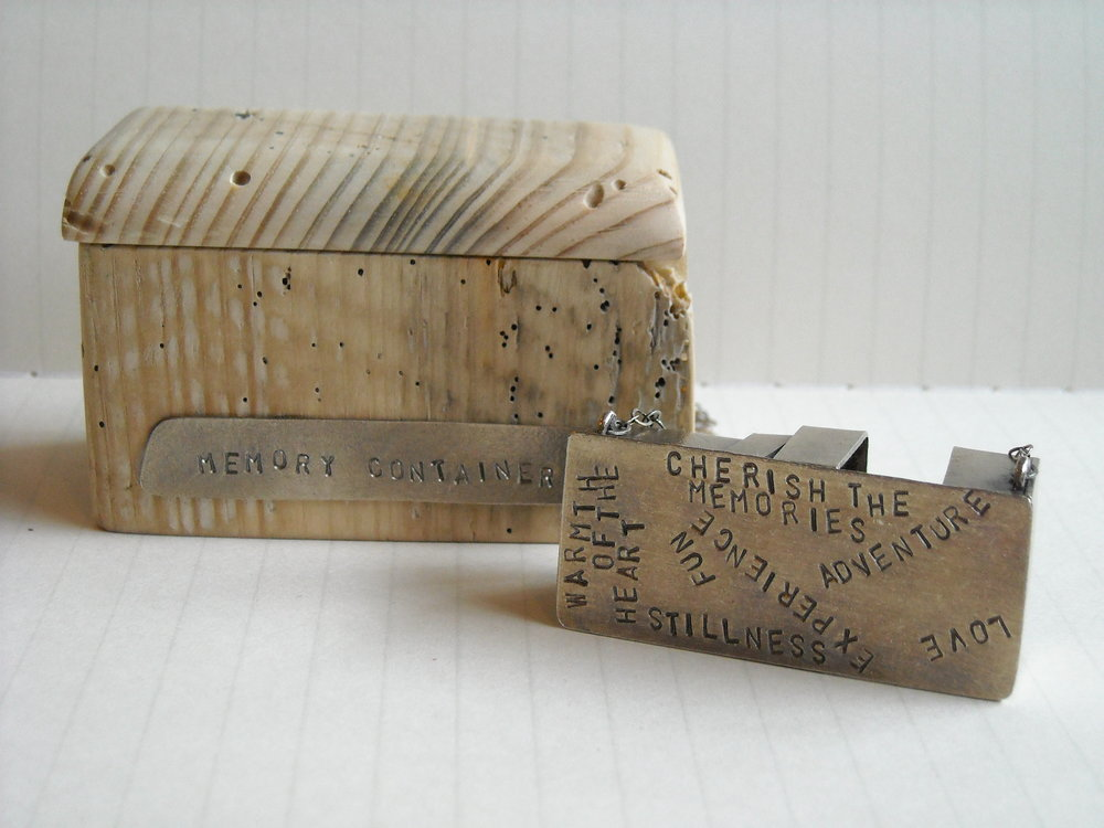 Memory container, box and necklace. Driftwood, sterling silver. 2009