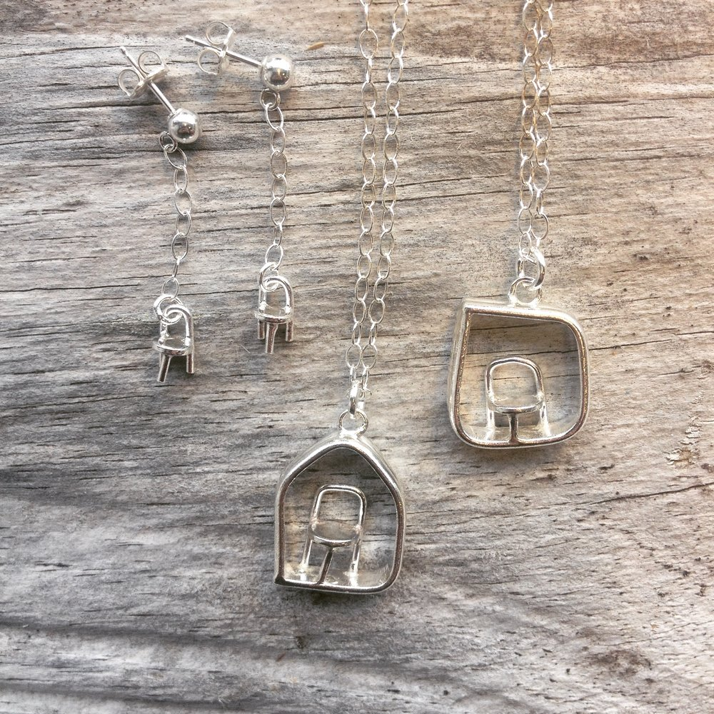 Chair necklaces and earrings. Sterling silver.