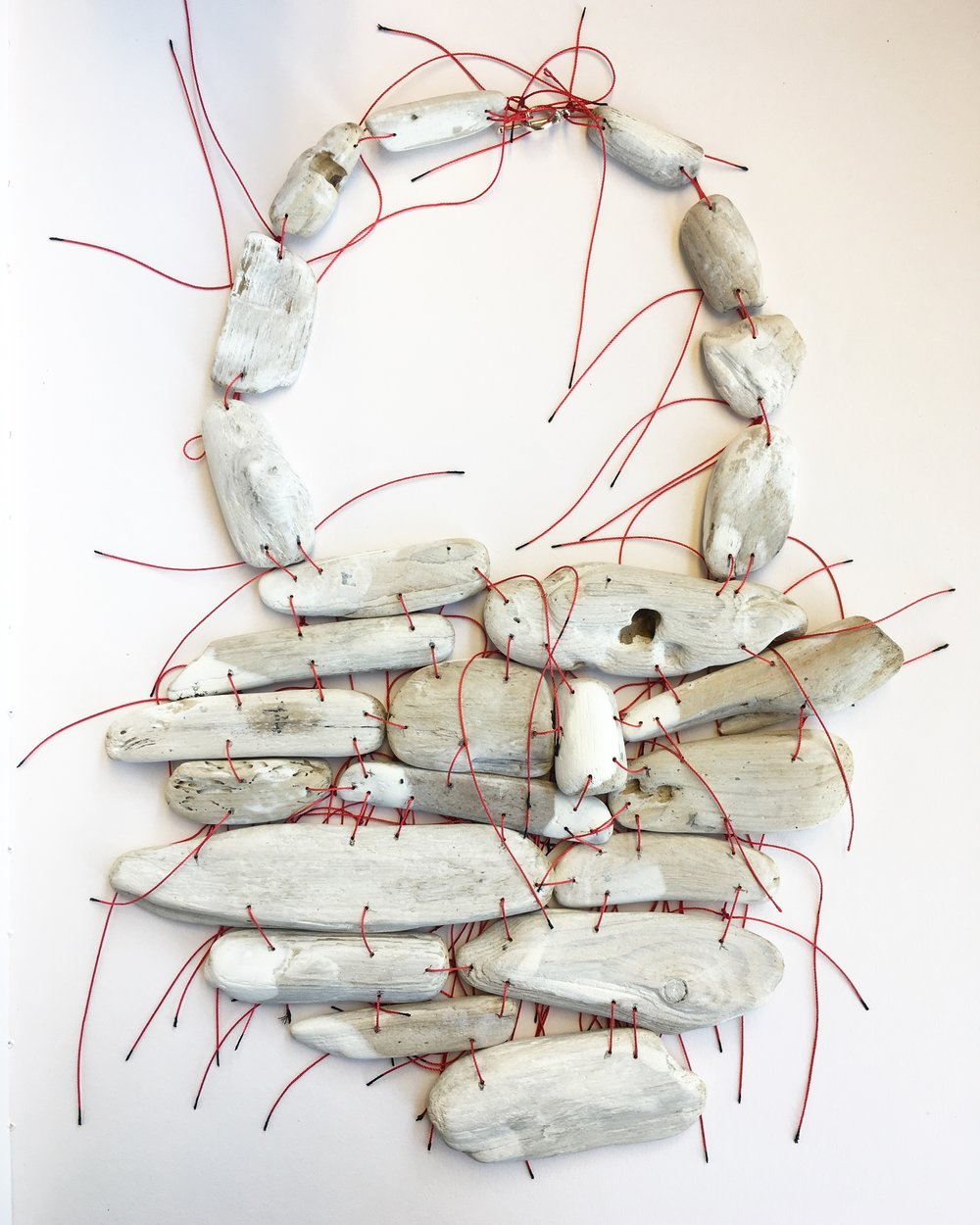 Surface/White, Driftwood, silk. 2018
