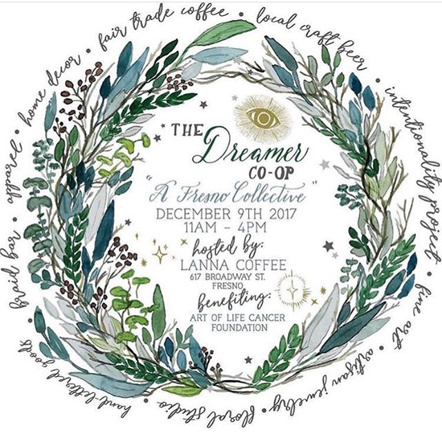 We are only two days away from our big holiday pop-up!!!! Come join us this Saturday for an artisanal holiday bazaar at @lannacoffeeco to benefit the @artoflifecancer ✨ Spend the afternoon with local creators and enjoy craft brew + coffee tastings, a fresh floral studio, apparel + jewelry, and lettered goods, home decor, live demonstrations from our artists, a braid car station, an art project station for the kids and mush more! @tuesdaystogetherfresno @makepie @klsdesignco @fleurieflowerstudio @cbescribe @bdthandmade @dvgcreative @propagate_succulents_friends @dreamersthatdopodcast @natasha_holland @shop_ilus @found.co @root_general @stockroom_picks @shopdeardanger Lipsense by @kimsfabfinds Braid Bar by @getwiththejogram Photo Booth by @redbrickphotobooth @trademark_inspired We look forward to seeing you at The Dreamer Co-op: @thefresnocollective