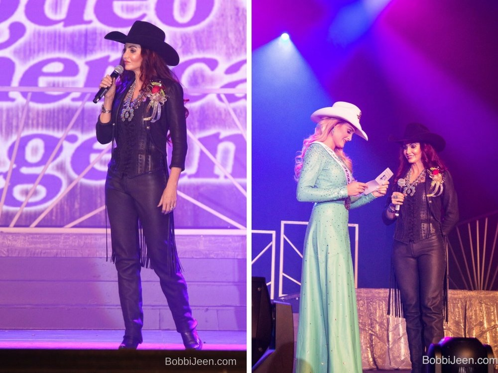 When I started counting my blessings, my whole life turned around. ~Willie Nelson~ What a phenomenal blessing and absolute honor Co-Hosting the 2017 Miss Rodeo America Coronation along with the very talented Brent Jordan at the MGM Grand Las Vegas and visiting with our 2017 Miss Rodeo America Lisa Lageschaar, thank you Lord! Also a special thank YOU to WILD INSTINCTS for this spectacular custom, handmade leather outfit, Western Trading Post for the beautiful jewelry, American Hat Company for the killer hat, Sherry Smith Photography for the great pictures, Jeana Welsh Linton, Kiki Guinn Shumway, Brent Jordan, She's Gone Country!!!  Bobbi Jeen Olson, Ms. US Ambassador FoRe She's Gone Country w/the CB Cowgirls, Wrangler Network Please check out/support this amazing organization that promotes both the Professional Rodeo Cowboy Association and the Western Lifestyle. www.MissRodeoAmerica.com